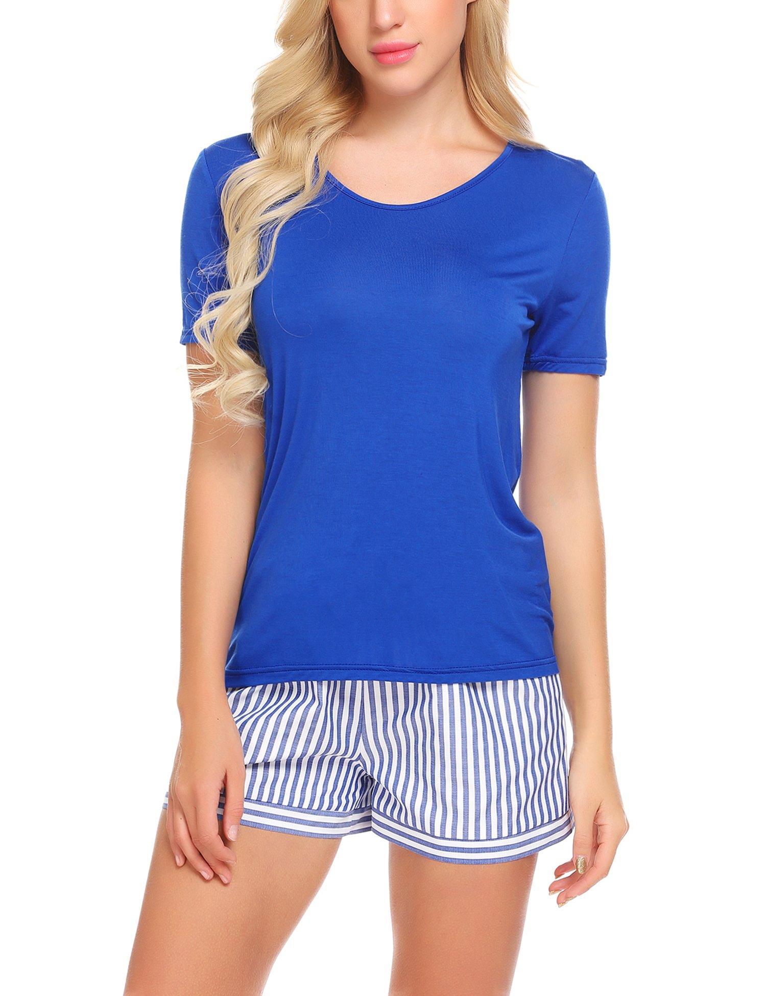 Ekouaer Women Pjs Sets Short Sleeve T Shirt and Shorts Loungewear Striped Sleepwear Pjs Sets