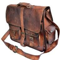 """16"""" leather messenger bag laptop case office briefcase gift for men computer distressed shoulder bag"""
