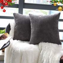 """Set of 2,Decorative Throw Pillow Covers 18"""" x 18"""" (No Insert),Solid Cozy Corduroy Corn Square Pillow Case Cover Shams,Soft Velvet Cushion Covers with Hidden Zipper for Couch/Sofa/Bedroom,Dark Gray"""