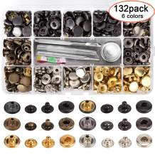 132 Set Leather Snap Fasteners Kit, 0.49 inch Metal Button Snaps Press Studs with 4 Installation Tools, 6 Color Leather Snaps for Clothes, Jackets, Jeans Wears, Bracelets, Bags