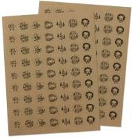Merry Christmas Sticker Seals - Set of 126-1 Inch Assorted Kraft Christmas Envelope Seals
