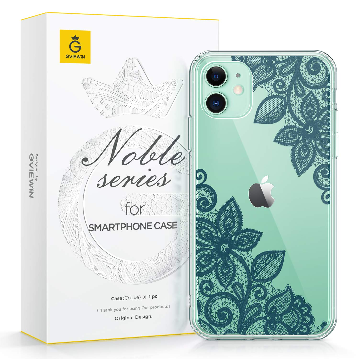 GVIEWIN Noble Series Designed for iPhone 11 Case, Clear Soft TPU Bumper & Hard Back with Floral Pattern Slim Lightweight Graceful Phone Cover for iPhone 11 6.1 Inch 2019 (Lace Flower/Midnight Green)