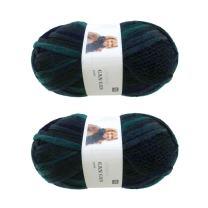 BambooMN Brand - 2 Skeins - Fishnet, Ruffle Fancy Scarf Yarn - 200g (60m), 100% Acrylic Yarn - Moss