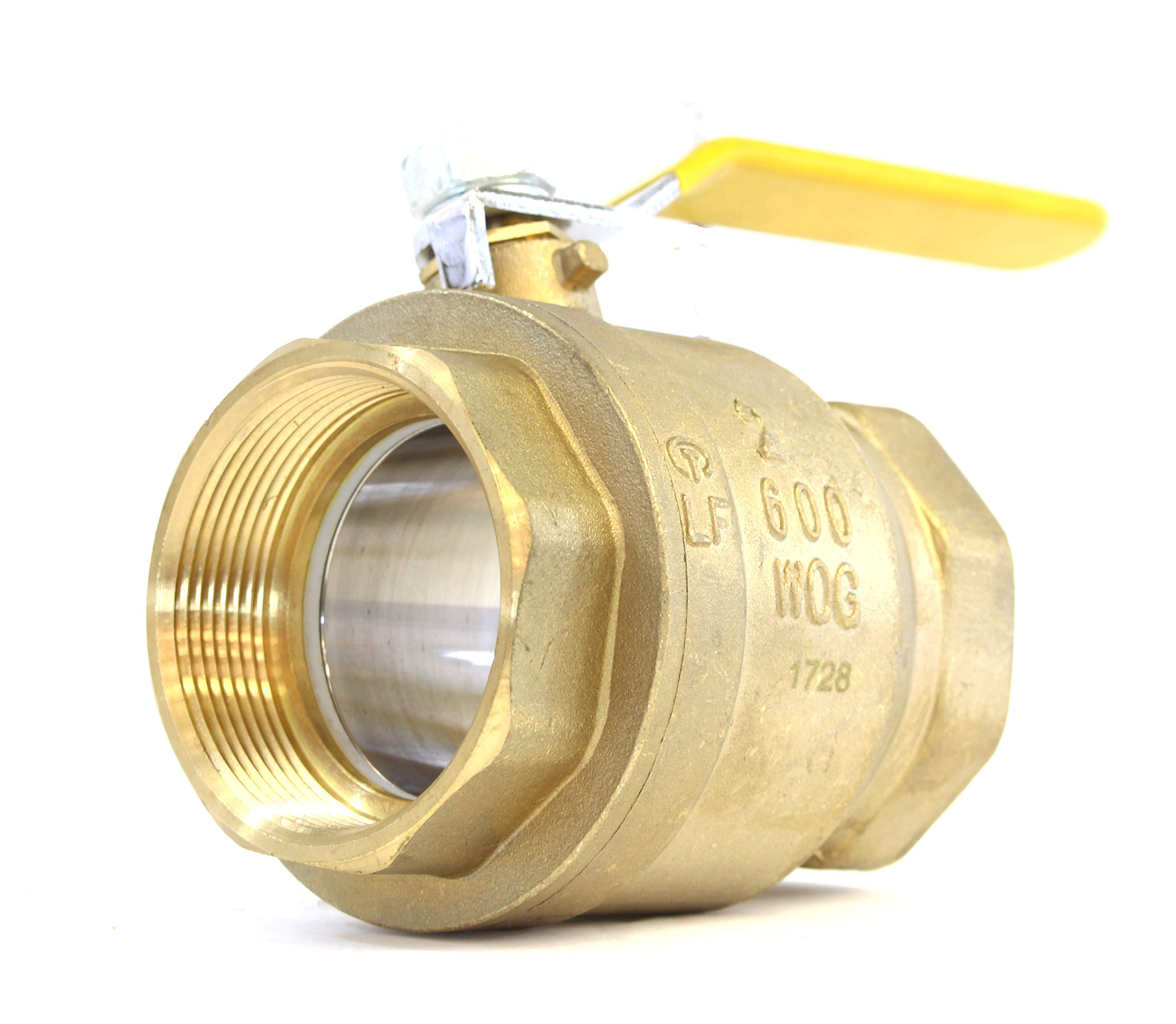 """2"""" Brass Ball Valve Threaded - IPS Full Port Irrigation Water Valves - Mechanical Lead Free Vinyl Lever Handle 2-Inch Female Thread Inline Steam Oil 600 WOG Supplies Hot Cold Pipes CSA"""