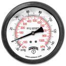 """Winters PFQ Series Stainless Steel 304 Dual Scale Liquid Filled Pressure Gauge with Brass Internals, 30"""" Hg Vacuum-0-150 psi/kpa,4"""" Dial Display, +/- 1.5% Accuracy, 1/4"""" NPT Back Mount"""