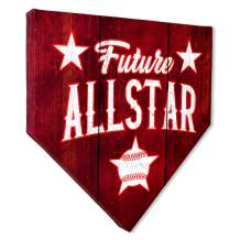 """COLLECTIBLE CANVAS Future All Star Vintage Home Plates, Sports, Wall Art for Bedroom, Nursery, and Other Parts of The House Or Dorm, Wall Decorations with Baseball Or Sports Theme 12"""" x 12"""" x 1.5"""""""