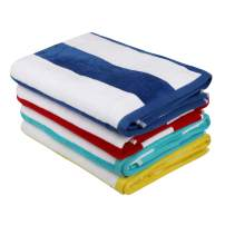 Simply Home 100% Cotton Pool Beach Towel Pack 4, Large Size, 28 in by 56 in, Cabana Stripe, One Side Terry One Side Velor, Variety Colour Pack