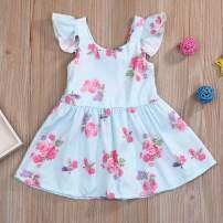 Kids Toddler Baby Girls Dress Outfit Ruffle Sleeveless Floral Backless Casual Tutu Skirt Princess Dress Summer