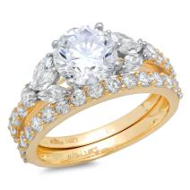 2.72ct Round Marquise Cut Solitaire 3 stone With Accent Highest Quality Moissanite & Simulated Diamond Engagement Promise Statement Anniversary Bridal Wedding Ring Real Solid 14k 2 tone Gold