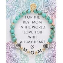 BONALUNA My Wish MOM Mantra 6mm Green Turquoise Color Stone Meditation & Healing Bracelets for Women