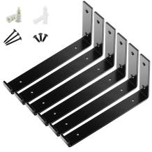 """BATODA Shelf Brackets 12"""" x 6"""" (6pcs) - Floating Shelf Bracket - Heavy Duty Hook L Brackets for Shelves - Wall Mounted Support with Lip for DIY Open Shelving –Screws and Wall Plug Included"""