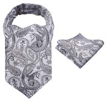 Alizeal Men's Self-tied Floral Woven Cravat and Hanky