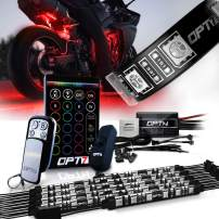 OPT7 10pc Aura Motorcycle LED Light Kit   Multi-Color Accent Glow Neon Strips w/Switch for Cruisers