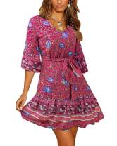 BONESUN Women's Loose Short Sleeve Floral Printed Ruffles Swing Mini Dresses with Belt