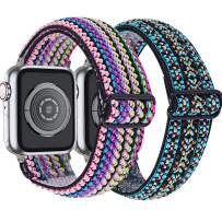 MEFEO 2-Pack Adjustable Elastic Apple Watch Bands Compatible with Apple Watch 38mm 40mm 42mm 44mm, Braided Pattern Nylon Sport Women Girls Bracelet Strap for iWatch SE Series 6/5/4/3/2/1 (Rainbow+Embroidery Blue, 38mm/40mm)