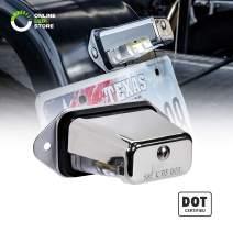 Trailer LED License Plate Light [Surface Mount] [DOT FMVSS 108] [SAE L] [Chrome-Finish] [Waterproof] [12V DC] License Tag Lights for UTV ATV Trailer Truck RV Boat