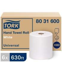 Tork Universal Hand Towel Roll H80, Economic Paper Hand Towel 8031600, 100% Recycled, Basic Quality, 1-Ply, White - 6 Rolls x 630 ft