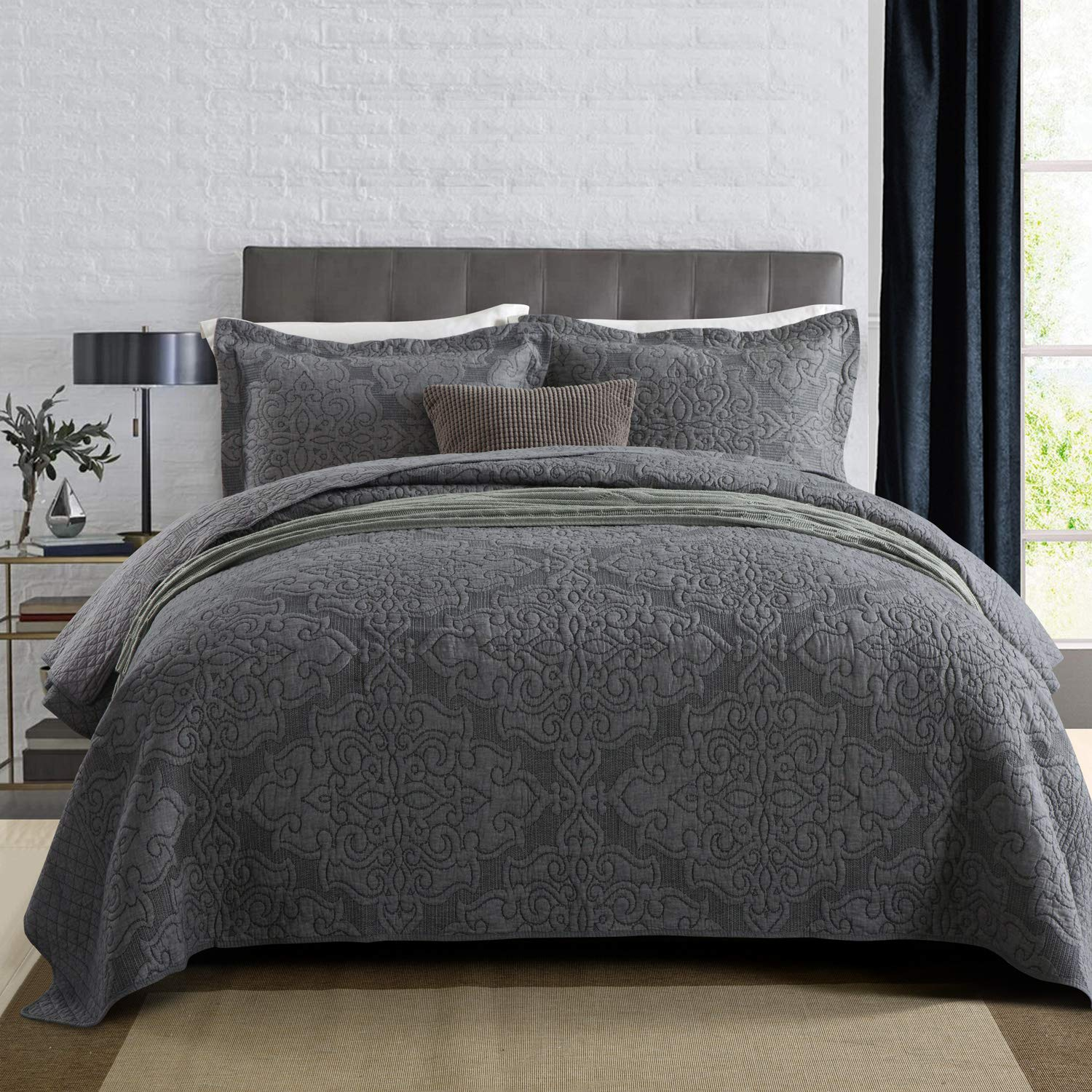 NEWLAKE Reversible Quilt Bedspread Coverlet Set,Jacquard Embossed Floral,Grey, Queen Size