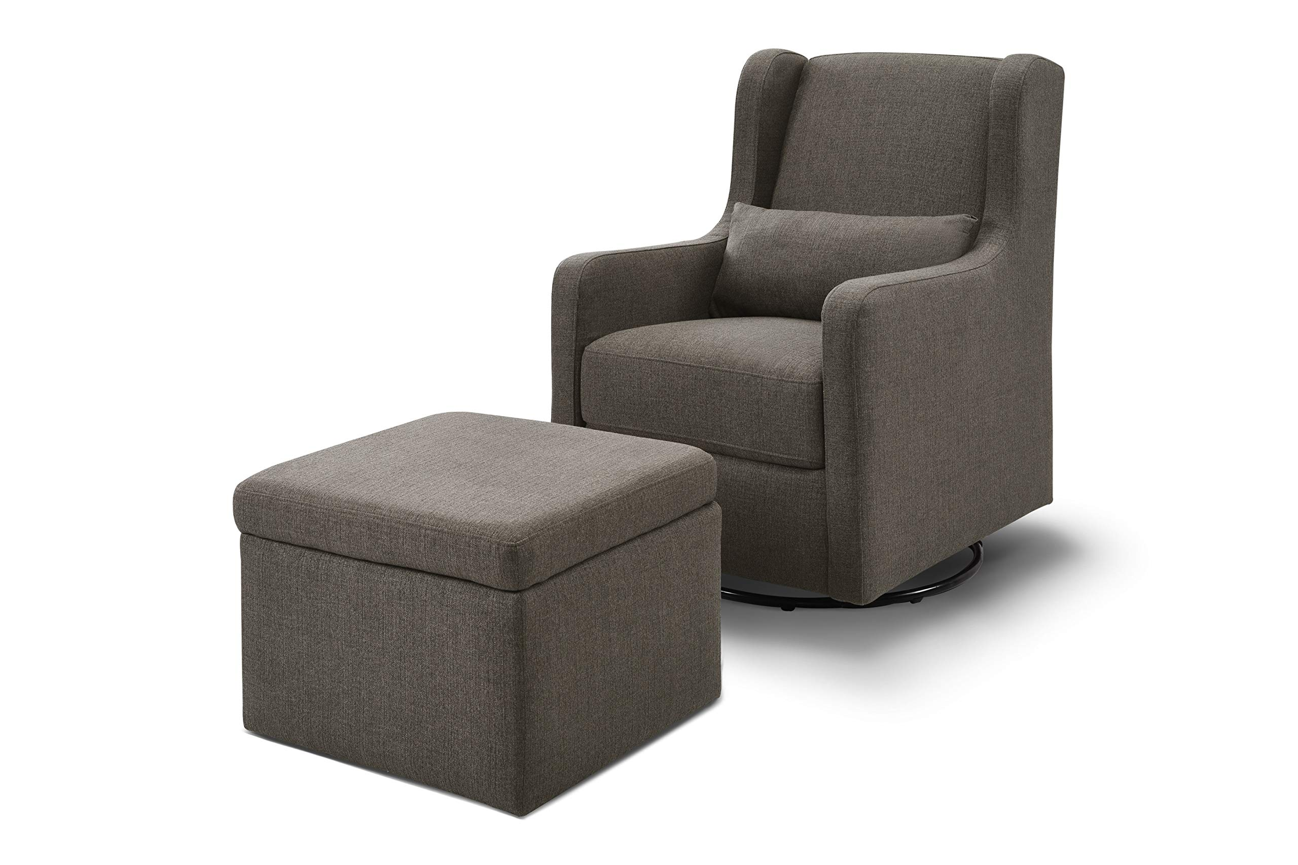 Carter's by Davinci Adrian Swivel Glider with Storage Ottoman in Charcoal Linen | Water Repellent and Stain Resistant Fabric