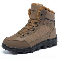 IKENIP Mens Snow Boots Anti-Slip Outdoor Fur Lined Warm Water Resistant Winter Shoes