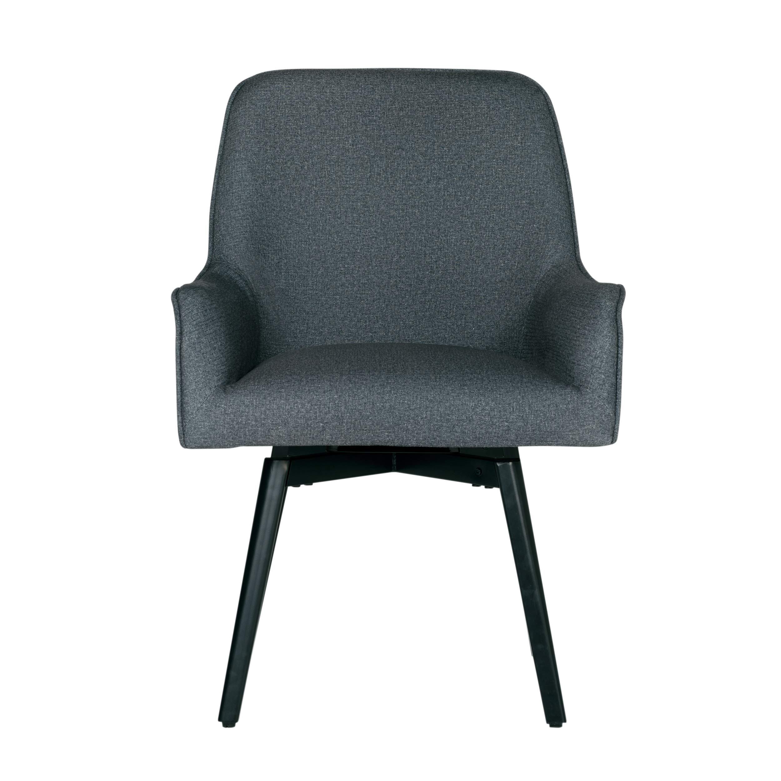 Studio Designs Home Contemporary Spire Luxe Swivel, Rotating, Upholstered, Accent Dining/Office Chair with Arms and Metal Legs in Charcoal Gray