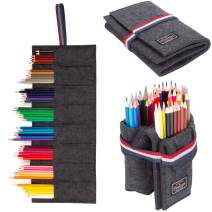 Pencil Holder Organizer 8 Slot Holds 48 Pencils Storage Pencil Roll Pouch, Felt Pencil Wrap Roll for Travel Drawing, Pencil Storage Case, Best Gift for boy, Boyfriend, student, kids. (No Pencil Includ
