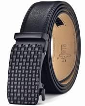 DWTS Mens Belts Leather Ratchet Dress Belt for Men with Slide Click Buckle Adjustable Trim to Fit