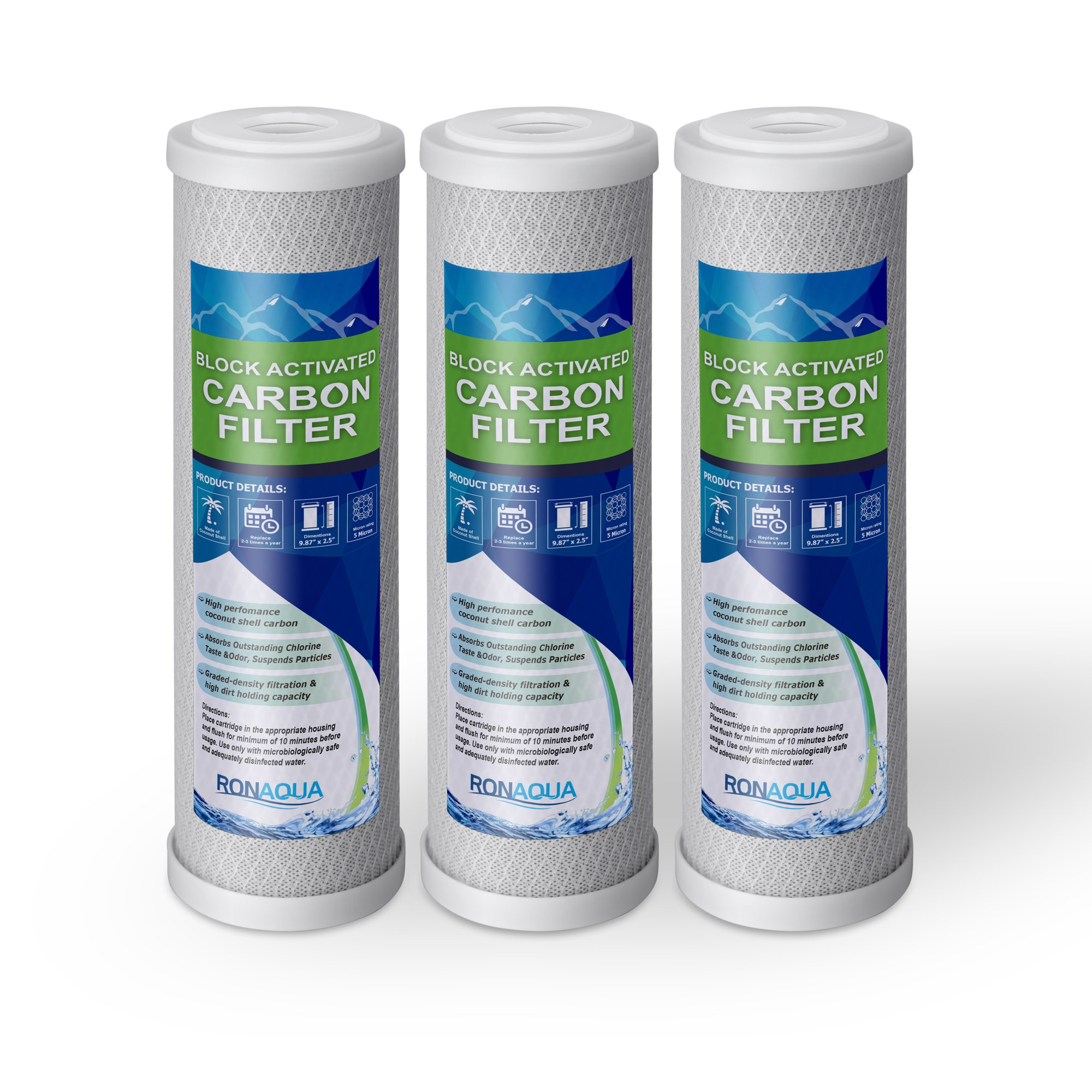 """Block Activated Carbon Coconut Shell Water Filter Cartridge 5 Micron for RO & Standard 10"""" Housing WELL-MATCHED with WFPFC8002, WFPFC9001, WHCF-WHWC, WHEF-WHWC, FXWTC, SCWH-5 (3 Pack)"""