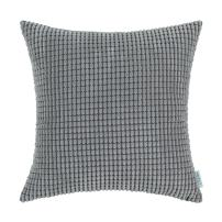 CaliTime Cozy Throw Pillow Cover Case for Couch Sofa Bed Comfortable Supersoft Corduroy Corn Striped Both Sides 24 X 24 Inches Medium Grey