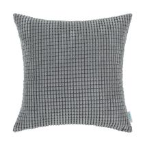 CaliTime Cozy Throw Pillow Cover Case for Couch Sofa Bed Comfortable Supersoft Corduroy Corn Striped Both Sides 18 X 18 Inches Medium Grey