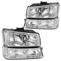 DWVO Headlights Assembly Compatible with 03-07 Chevy Silverado 1500 2500 3500 1500HD 2500HD / 03 04 05 06 Chevrolet Avalanche (Chrome Housing)