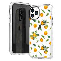iPhone 11 Pro Case,Cute Sweet Orange Tangerines with Green Daisy Leaves Funny Aloha Summer Tropical Fruits Girls Women Trendy Sassy Soft Protective Clear Case with Design Compatible for iPhone 11 Pro