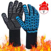 ReHaffe Grill Gloves,1472℉ Extreme Heat Resistant Gloves, Food Grade XL Grilling Gloves, Silicone Anti-Slip BBQ Grill Gloves for Grilling, Barbecue,Cooking, Baking, Cutting