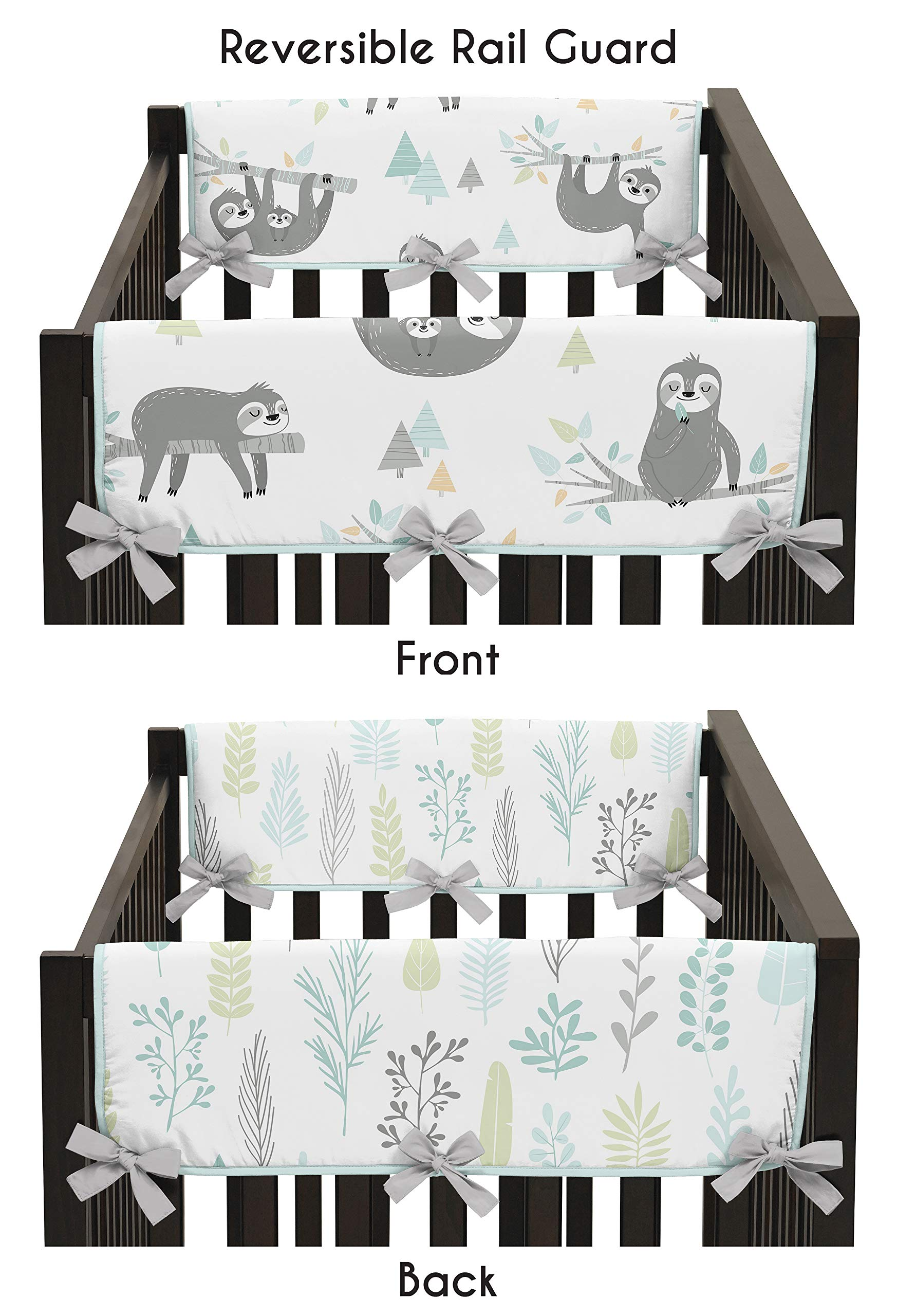 Sweet Jojo Designs Blue and Grey Jungle Sloth Leaf Unisex Boy or Girl Side Crib Rail Guards Baby Teething Cover Protector Wrap - Set of 2 - Turquoise, Gray and Green Botanical Rainforest