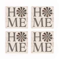 Home Windmill Whitewash Look 4 x 4 Absorbent Ceramic Coasters Set of 4