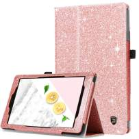 All-New Amazon Kindle Fire 7 Case(9th Generation, 2019 Release), DUEDUE Slim Lightweight Glitter Bling Folding Stand Smart Auto Sleep/Wake Full Protective Case for Amazon Fire 7 2017 Women, Rose Gold