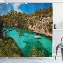 """Ambesonne Nature Shower Curtain, Small Yacht Floating in Sea Majorca Spain Rocky Hills Forest Trees Scenic View, Cloth Fabric Bathroom Decor Set with Hooks, 75"""" Long, Green Blue"""