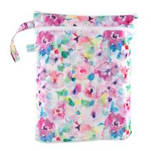 Bumkins Waterproof Wet/Dry Bag, Washable, Reusable for Travel, Beach, Pool, Stroller, Diapers, Dirty Gym Clothes, Wet Swimsuits, Toiletries, Electronics, Toys, 12.5 x 14 – Watercolor