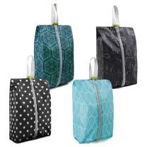 Travel Shoe Organizer Pouch Set of 4 with Zipper Shoe Storage Travel Bags Durable Machine Washable Geometric Constellation Dot Line Prints Shoes Bags for Women Men
