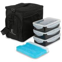 Evolutionize Meal Prep Insulated Lunch Bag Cooler Bag Patented Lunch Box includes Portion Control Meal Prep Containers and Ice Pack (3 Meal, Black)