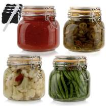 Galashield Glass Jars with Lids Food Storage Jars with Airtight Lids Leak Proof Glass Canisters Kitchen Jars [Set of 4 - 25 oz]