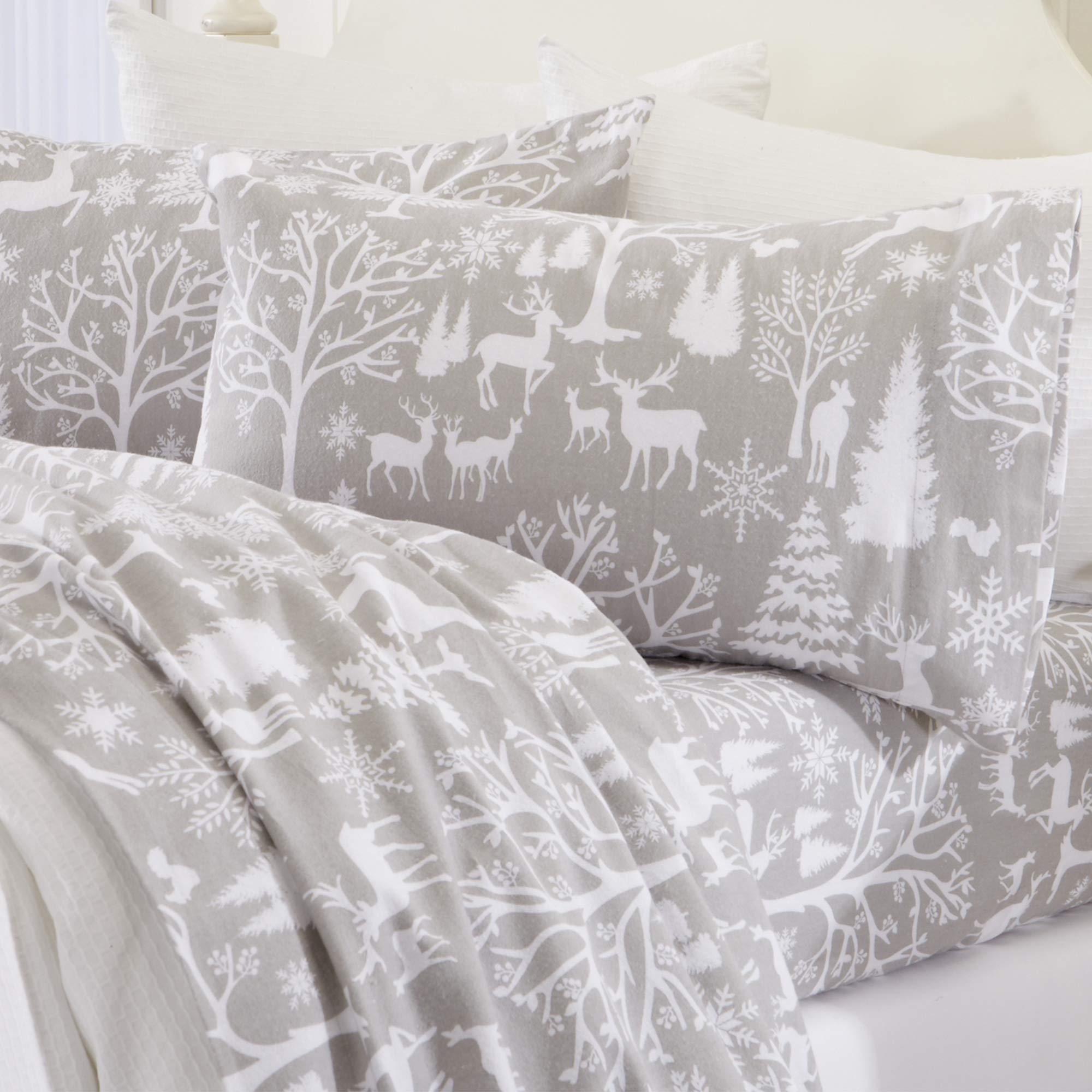 Great Bay Home Extra Soft Enchanted Woods 100% Turkish Cotton Flannel Sheet Set. Warm, Cozy, Luxury Winter Bed Sheets. Belle Collection (California King, Enchanted Woods)