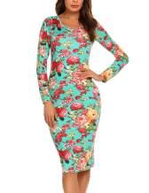 HOTOUCH Womens Bodycon Dress Floral Mini Pencil Slim Dress Long Sleeve Maternity Mom Slim Fit Dresses