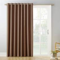 """Sun Zero Easton Extra-Wide Blackout Sliding Patio Door Curtain Panel with Pull Wand, 100"""" x 84"""", Barley Brown"""