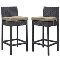 Modway Lift Wicker Rattan Outdoor Patio Two Bar Stools with Cushions in Espresso Mocha