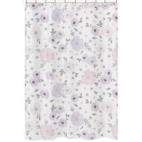 Sweet Jojo Designs Lavender Purple, Pink, Grey and White Bathroom Fabric Bath Shower Curtain for Watercolor Floral Collection - Rose Flower