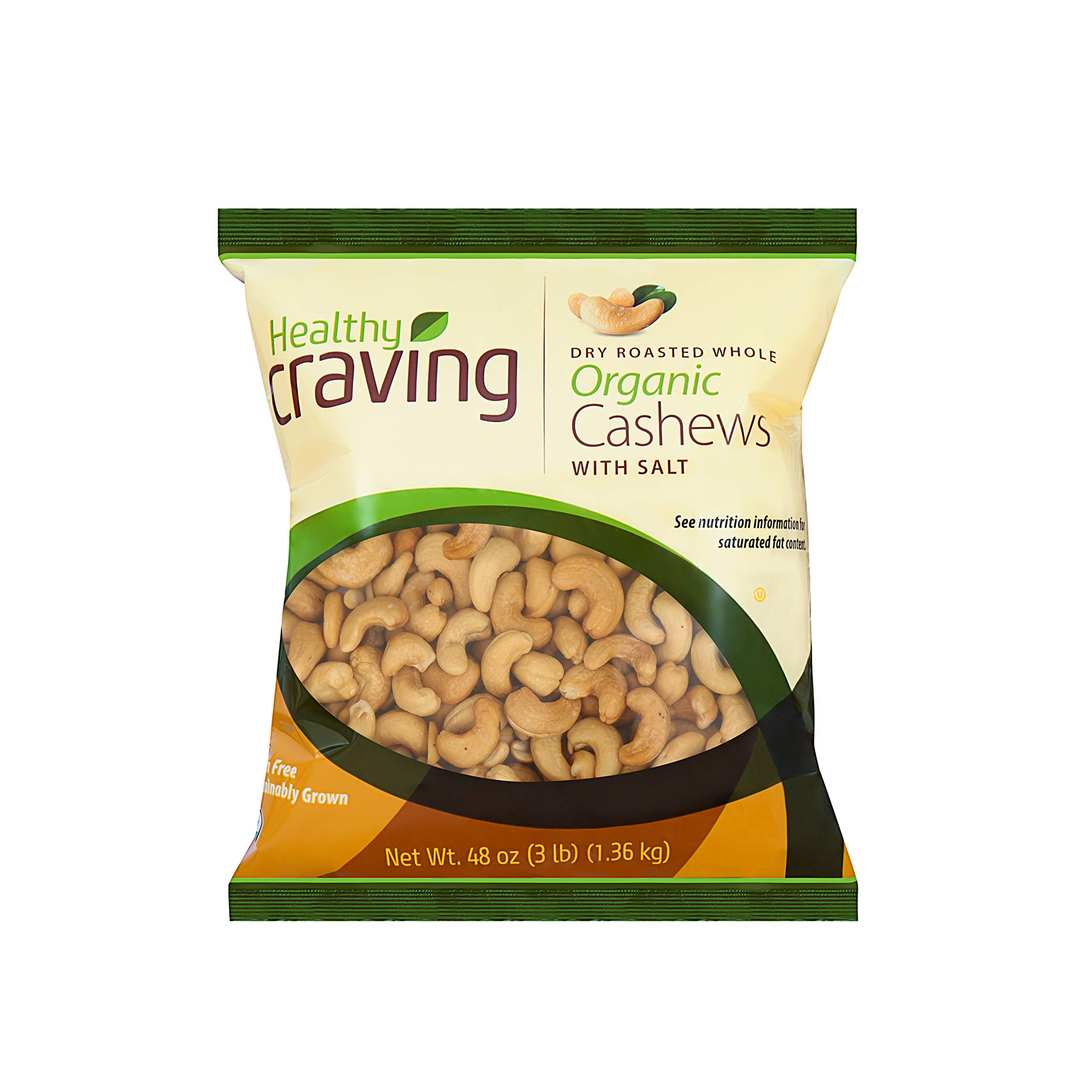 Healthy Craving Dry Roasted Salted Organic Whole Cashews, 48oz