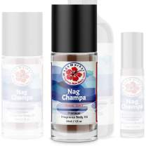 WagsMarket - Nag Champa Perfume Oil, from 0.33oz Roll On to 4oz Glass Bottle (1oz Roll-On)