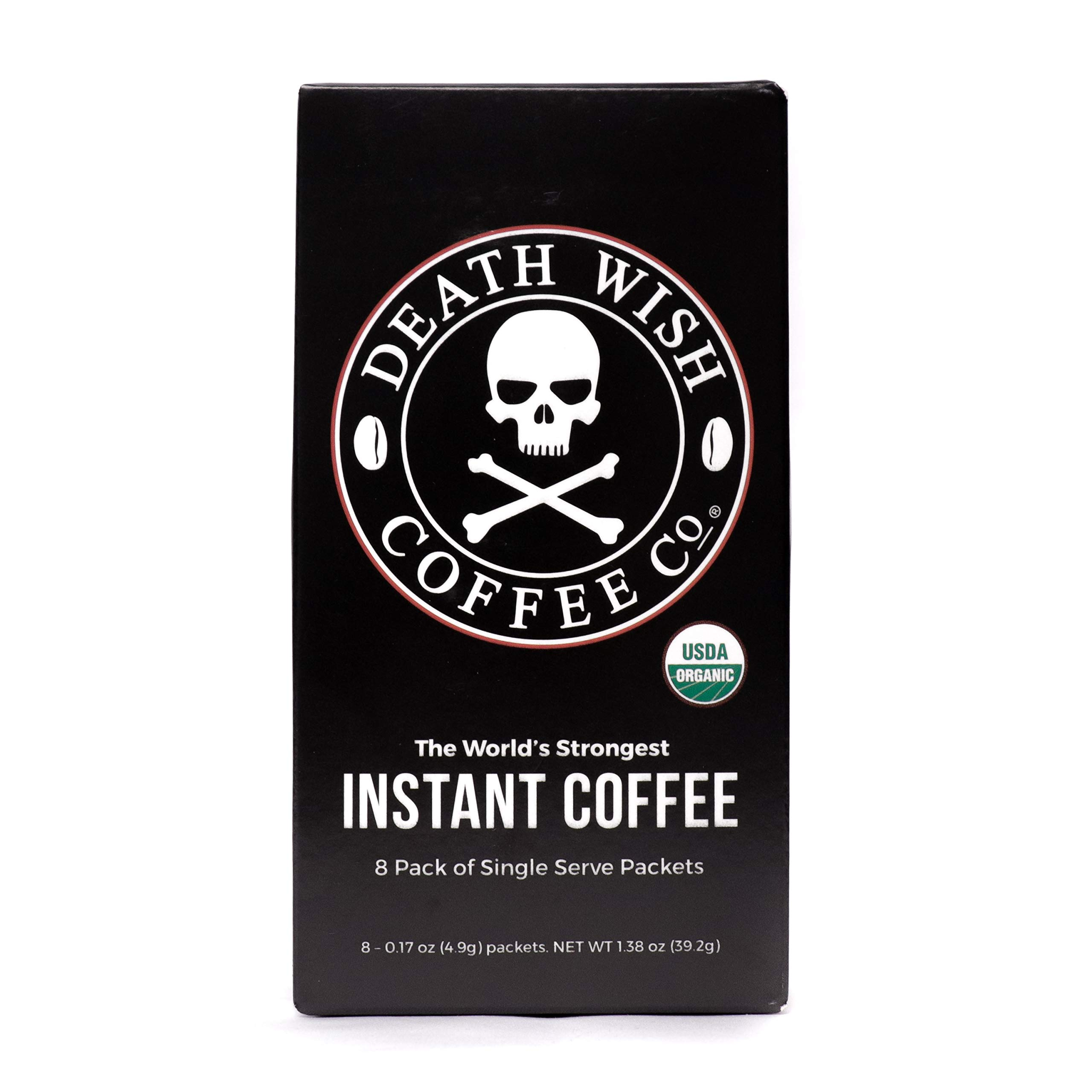 Death Wish Instant Coffee, The World's Strongest Coffee, Fair Trade and USDA Certified Organic, 8 Packets