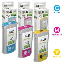 LD Remanufactured Ink Cartridge Replacement for HP 72 High Yield (Cyan, Magenta, Yellow, 3-Pack)